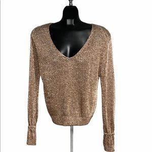 QED LONDON Rose Gold Metallic Knit Bell Sleeve Top